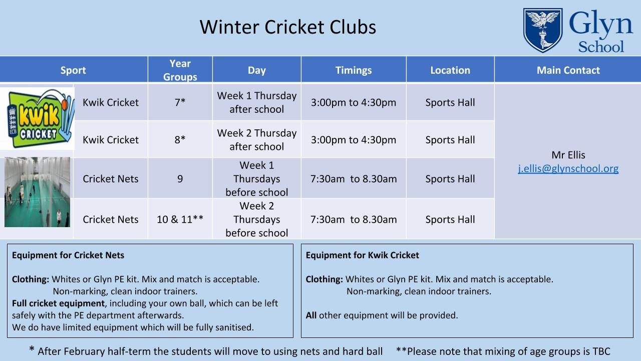 Copy of Extracurricular sports including winter cricket